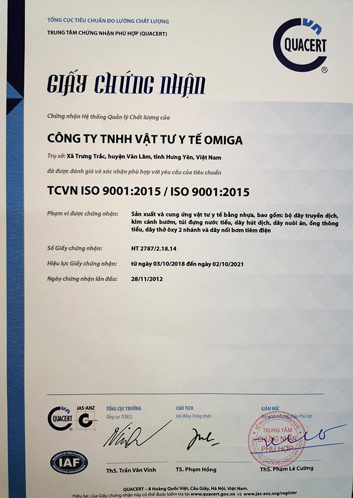 Giấy chứng nhận hệ thống quản lý chất lượng IS0 9001-2015