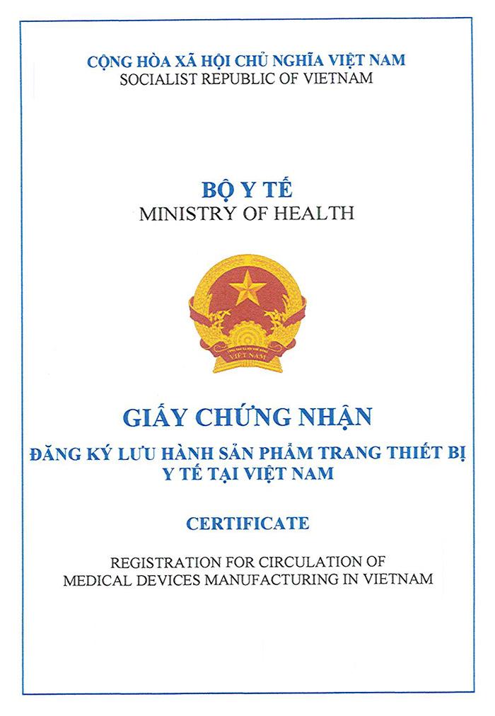 Giấy chứng nhận đăng ký lưu hành sản phẩm trang thiết bị y tế sản xuất tại Việt Nam